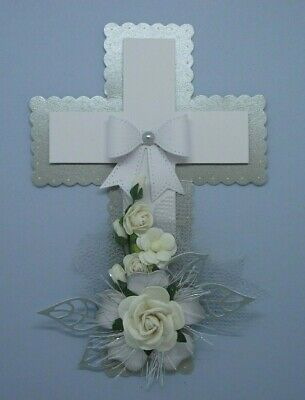 Frosted Silver Fancy Floral Religious Cross 3D Card Craft Topper/Embellishment