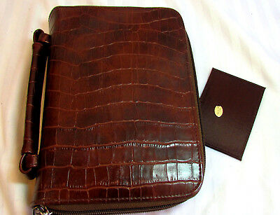 Compact Cell Pocket Faux Leather Planner Organizer Purse 2 Section Many Extras