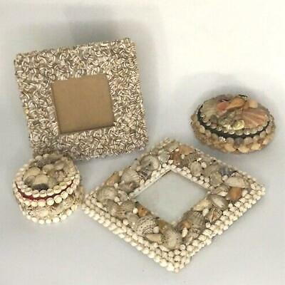 Shell decor Lot 4 pcss 2 Photo Frames and 2 Trinket Boxes Vintage Beach Ocean