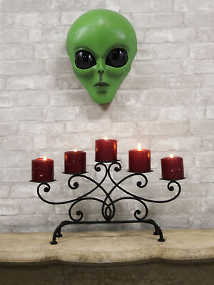 """Large UFO Space Galaxy ET Roswell Green Alien Skull Head Wall Decor Plaque 13""""H"""