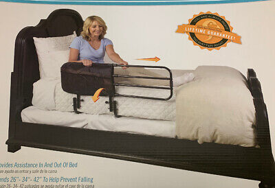 Stander EZ Adjust and Pivoting Adult Home Bed Rail/Swing Down Assist Handle w...