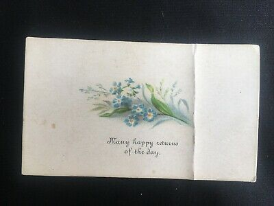 Vintage Collectable Small Greeting Card / Note - 1880 - Flowers