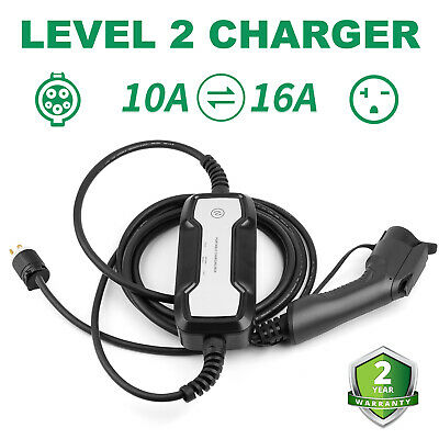 Portable EV Charger Level2 Charging Cable 10A/16Amp J1772 NEMA 6-20 level 1 EVSE