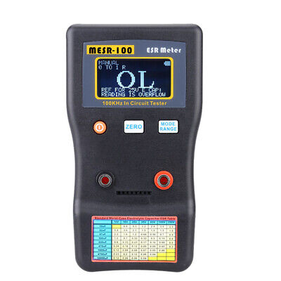 MESR-100 ESR Capacitance Ohm Meter Capacitor Circuit Tester with Test Clips N6J1