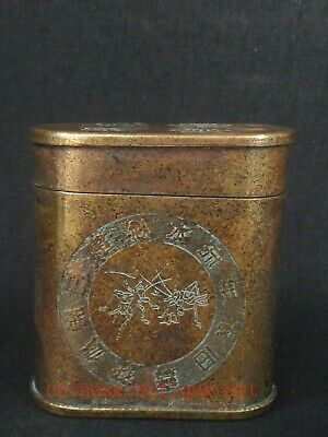 Collecting Ancient Chinese Copper Handmade Cricket Bird Calligraphy Snuff Box