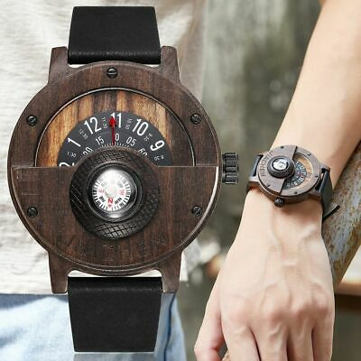Creative Mens Walnut Wood Watch Male Wooden Leather Real Natural Men Rosewood