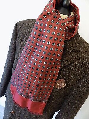 VINTAGE mens 70's MOD DEKRA RED CIRCLE SILK & WOOL SCARF WITH FRAY ENDS 9 x 54""