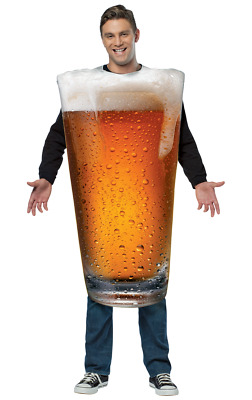 ADULT PINT OF BEER Mens Fancy Dress Costume Stag Alcohol Oktoberfest Outfit C779