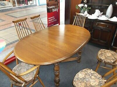 ERCOL Old Colonial Extending Dining Table & 6x Windsor Goldsmith Chairs - CS B82