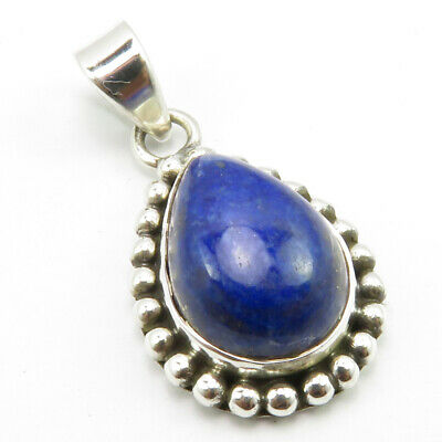 """925 Solid Silver Teardrop Shape Lapis Lazuli Old Style Pendant 1.1"""" New Gift"""