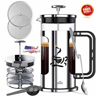 French Press Coffee Maker, 34oz Coffee and Tea Makers with 4 Level Filtration Sy