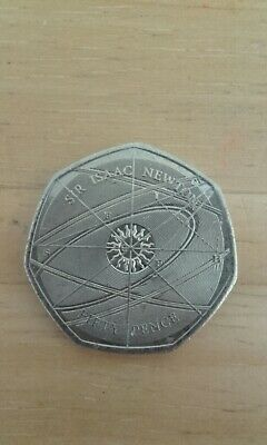 50p Coin Sir Issac Newton, Very Rare And Collectable. Very good condition