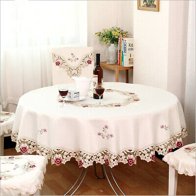1pc Embroidered Round Table Cloth Cover With Lace Hotel Wedding Floral 85*85 Cm