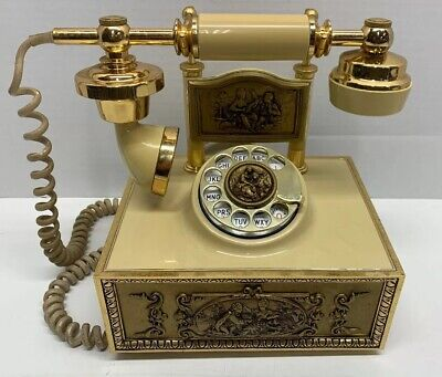 Vintage Deco Tel French Victorian Style Rotary Dial Phone Ivory & Gold Color