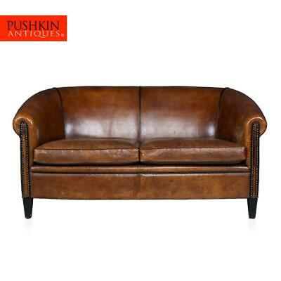 SUPERB 20thC DUTCH TWO SEATER SOFA IN SHEEPSKIN LEATHER c.1960