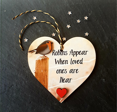 Personalised Robin Christmas Tree Heart Sign memory Decoration Memorial Xmas