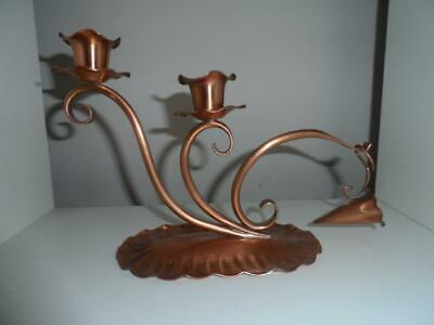 Vintage Signed Solid Copper Gregorian Candle Holder w/Snuffer, Made in U.S.A.