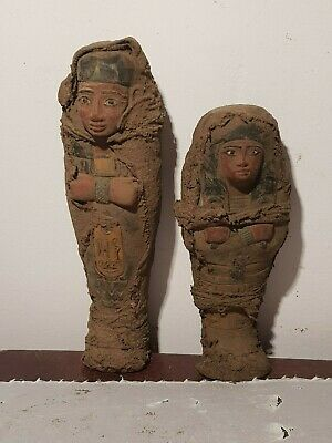 Rare Antique Ancient Egyptian 2 Ushabtis Servant minions cook clean1820-1750BC