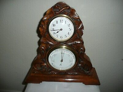 Antique, Mantle Clock & Barometer in Beautifully Carved Walnut Case. Excellent.