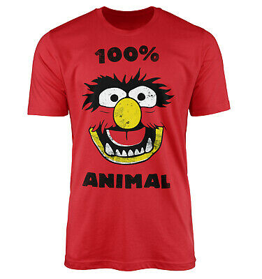 Mens Funny 100% Animal The Muppets Inspired Distressed Monster Slogan T-Shirt