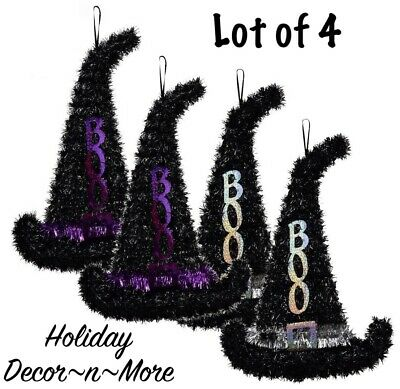 Lot/4 Tinsel Witch Elf Santa Hat Hanging Halloween Wreath Form Door Decor Craft