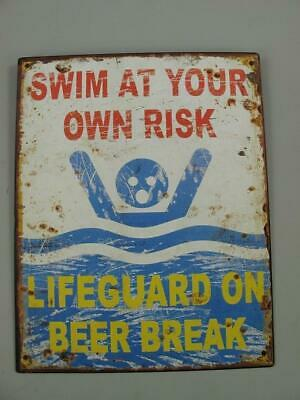 Metal Sign,Advertisement Sign,Swim at Your Own Risk,Humour Wall Sign 9 13/16x7