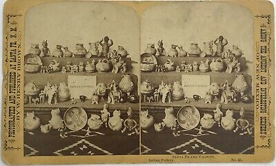 1880's Stereo/Cabinet Card Of Santa Fe Indian Artifacts And Pottery