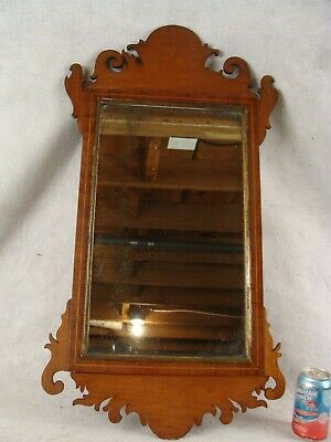 Antique 18/19C Chippendale Inlaid Mahogany Wall Mirror