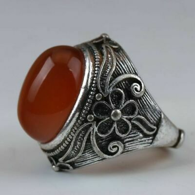 Exquisite Chinese Tibet Silver Handwork Inlaid Natural Red Zircon Ring