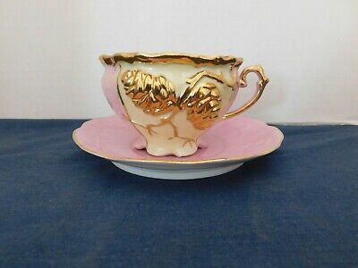 Vintage China Pink Cup & Saucer Gold Pinecones Gold Trim