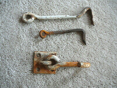 3 - Antique Salvaged Hooks - Barn Shed Door Gate - Twisted Straight Mounted