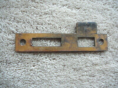 """Antique Salvaged Solid Brass Large Door Jamb Strike Plate - 5.5"""" Tall - Good"""