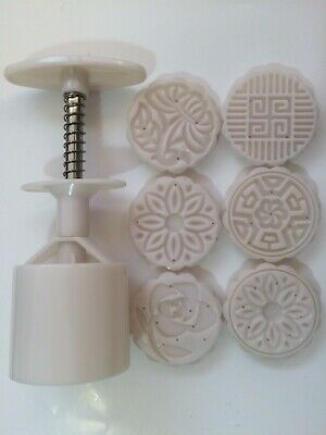 6 Flower Stamps 50g Moon Cake Mould Circle DIY Mooncake Mold Baking Decor Tool