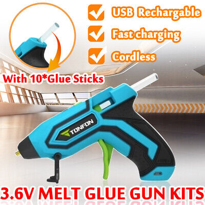TONFON 3.6V Cordless Hot Glue Gun USB Rechargable Melt Glue Gun Kits with Sticks