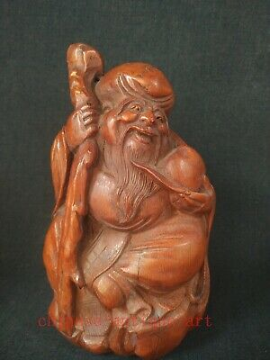 Collection Ancient Chinese Bamboo Roots Hand Carved Old Man Longevity Decoration