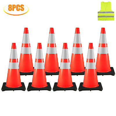 28'' Inch Safety Traffic Cones Fluorescent Orange Reflective Collar 8Pcs/Set