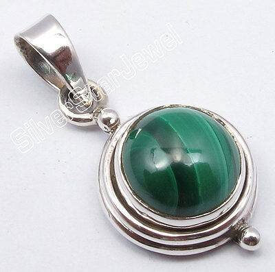 925 Sterling Silver High End MALACHITE Jewel EXTRA ORDINARY Small Pendant 2.5 CM