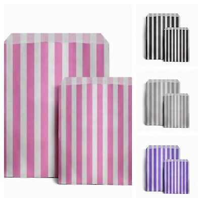 100x CANDY STRIPE PAPER BAGS SWEET WEDDING FAVOUR BUFFET GIFT SHOP PARTY SWEETIE