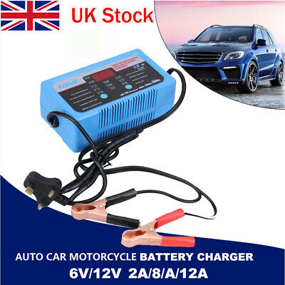 6V/12V 12A Intelligent Auto Car Motorcycle Battery Charger LCD Display UK Plug
