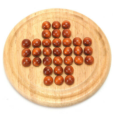 Wooden Solitaire Board Game Kid Child Family Traditional Educational Fun Toy