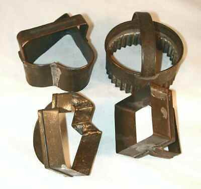 Lot 4 Antique PA Tin Biscuit Cookie Cutters Heart, Keystone, Diamond & Round