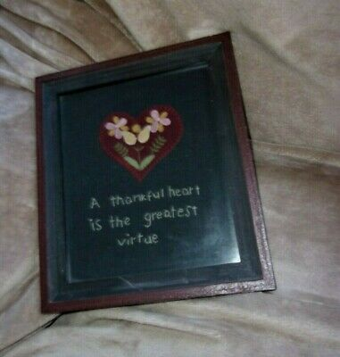 primitive country picture stitchery wall decor decoration handmade heart thanks