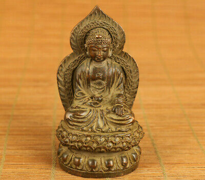Blessing chinese old bronze hand carved buddha monk statue figure