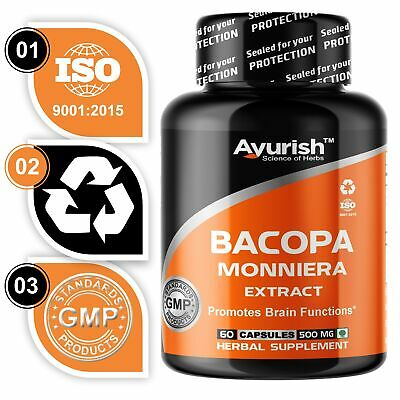 Ayurvedic Bacopa Monnieri 20% Bacoside Extract Powder Capsule Memory Booster