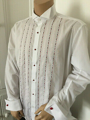 "Rocola Winged Embroidered Dress Shirt In Wrapper 15.5 X 42"" Medium Formal Party"