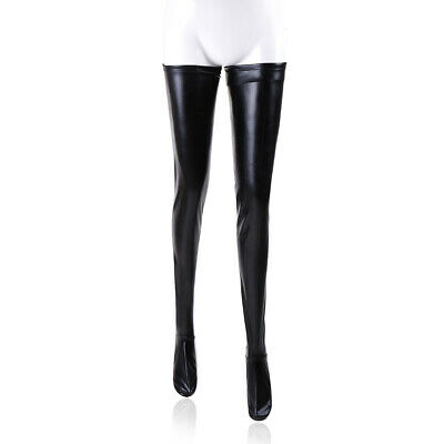 Black PVC Faux Leather Wet Look Stockings Thigh High Fancy Dress Size UK 8 & 10
