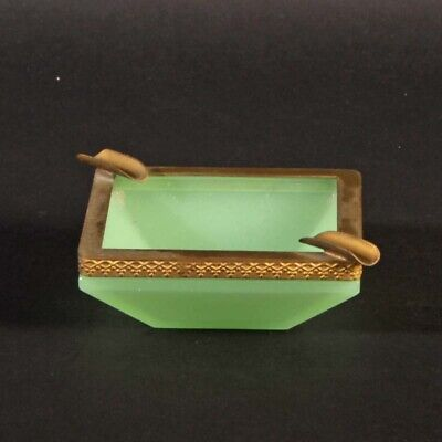 French opaline glass ashtray light green gold metal square shape vintage