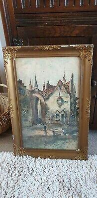 Antique Early 19th century Victorian watercolour painting harbour scene .