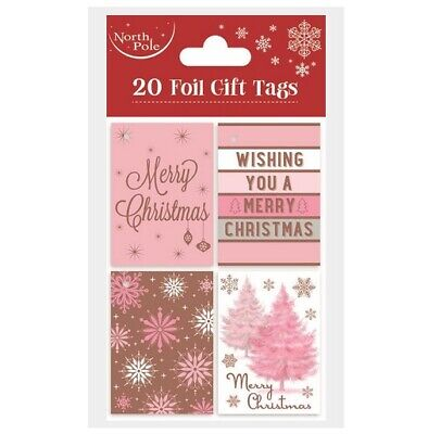 Pack Of 20 Rose Gold Blush Pink Foil Christmas Gift Tags With Pink Ribbon