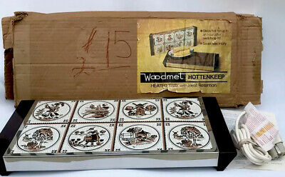 VINTAGE Mid Century WOODMET HOTTENKEEP Heated Serving Tray Delft Tile Finish New